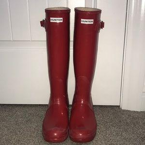 Red Tall Hunter Rain Boots